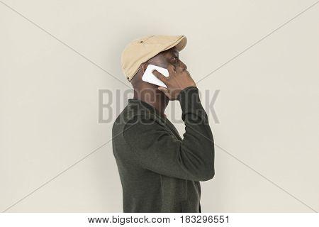 African Descent Man Phone Concept