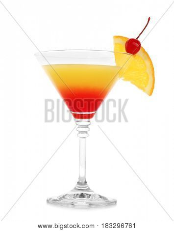 Tequila sunrise cocktail, isolated on white