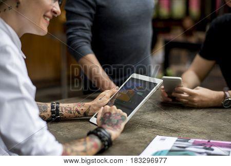 Woman Tablet Talk Conversation Colleague