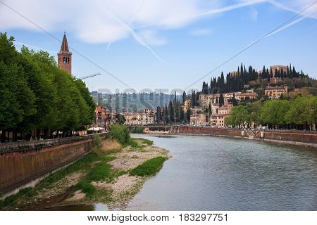 View of Castel San Pietro and the Adige river from ponte nuovo Verona