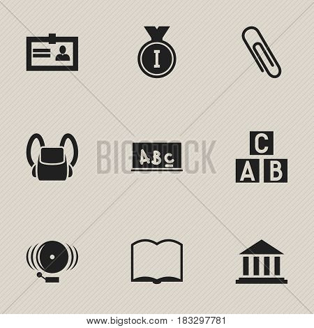 Set Of 9 Editable University Icons. Includes Symbols Such As Certification, Museum, Schoolbag And More. Can Be Used For Web, Mobile, UI And Infographic Design.
