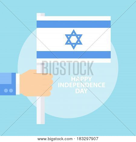 Israel Happy Independence Day celebration card with hand holding flag of Israel. Flat design vector illustration.