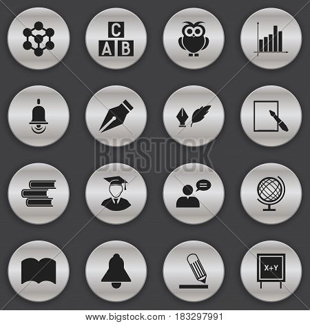 Set Of 16 Editable Science Icons. Includes Symbols Such As Molecule, Thinking Man, Blackboard And More. Can Be Used For Web, Mobile, UI And Infographic Design.