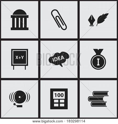 Set Of 9 Editable Science Icons. Includes Symbols Such As First Place, Literature, Courtroom And More. Can Be Used For Web, Mobile, UI And Infographic Design.