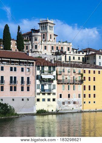 River Brenta With  Romantic Village Basano Del Grappa