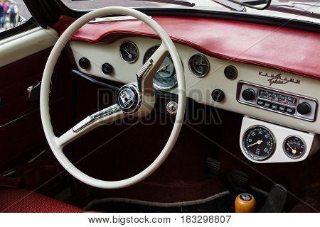 BERLIN - JUNE 14 2015: Cabin of a sports car Volkswagen Karmann Ghia. The Classic Days on Kurfuerstendamm.
