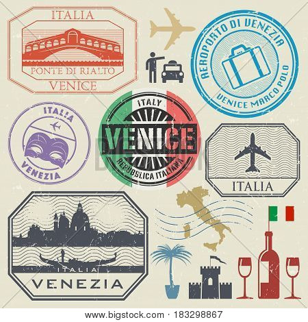 International business travel visa stamps or symbols set Italy Venice theme vector illustration
