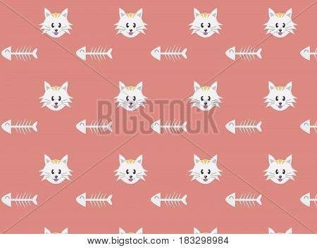 Cat pattern - vector seamless texture made with thin line cat paw footprint