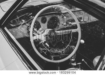 BERLIN - JUNE 14 2015: Cabin of a sports car Volkswagen Karmann Ghia. Stylization. Black and white. The Classic Days on Kurfuerstendamm.