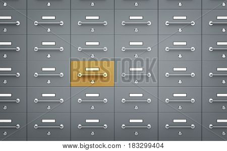 Safe deposit boxes - with one different. 3d illustration
