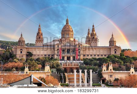 MNAC in Barcelona with a rainbow, Spain