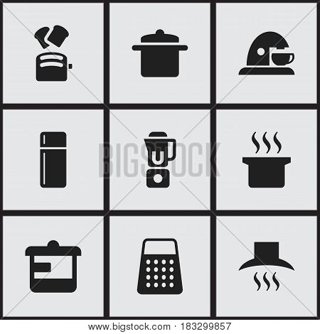 Set Of 9 Editable Cooking Icons. Includes Symbols Such As Refrigerator, Cookware, Shredder And More. Can Be Used For Web, Mobile, UI And Infographic Design.