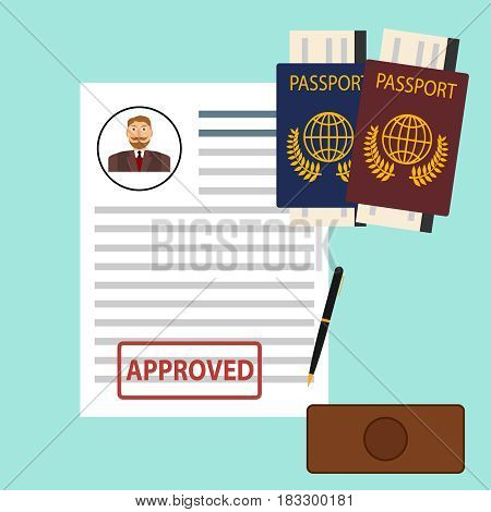 Passport visa. Flat design vector illustration vector.