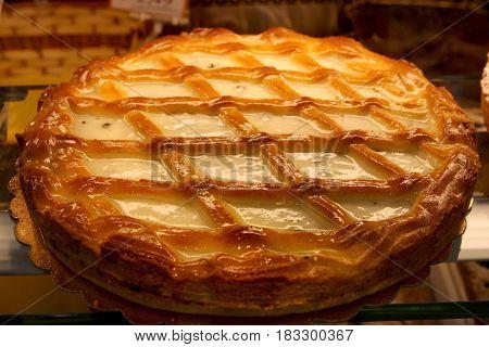 Tart cake with ricotta. Italian style. Delicious Italian ricotta cake handmade.