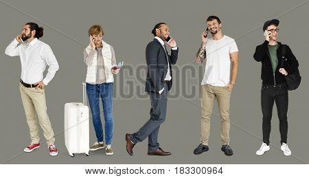 Adult People Call Mobile Phone Communication Studio Portrait Isolated