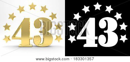 Golden number forty three on white background with drop shadow and alpha channel decorated with a circle of stars. 3D illustration