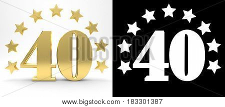 Golden number forty on white background with drop shadow and alpha channel decorated with a circle of stars. 3D illustration