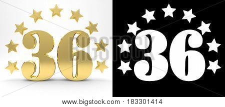 Golden number thirty six on white background with drop shadow and alpha channel decorated with a circle of stars. 3D illustration