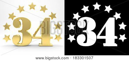 Golden number thirty four on white background with drop shadow and alpha channel decorated with a circle of stars. 3D illustration