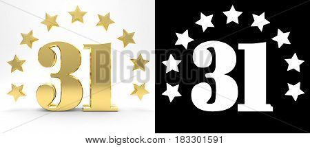 Golden number thirty one on white background with drop shadow and alpha channel decorated with a circle of stars. 3D illustration