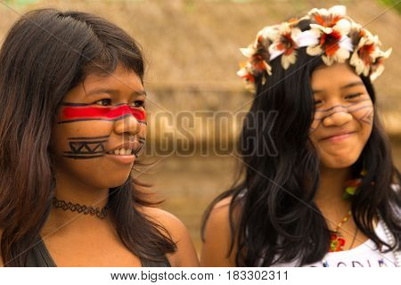 Girls from Tupi Guarani Tribe in Brazil