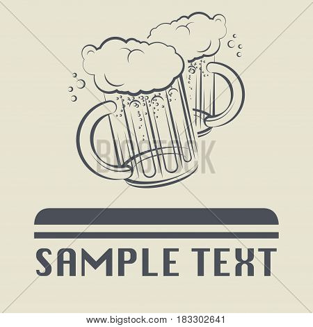 Beer glass icon or sign vector illustration