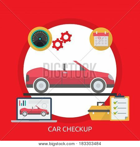Car Checkup Conceptual Design | Great flat illustration concept icon and use for mechanic, car repair, industrial, transport, business concept, and much more.