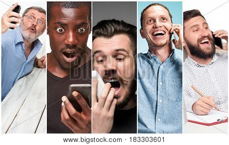 The collage from images of multiethnic group of happy young women using their phones . The different human emotion face expressions