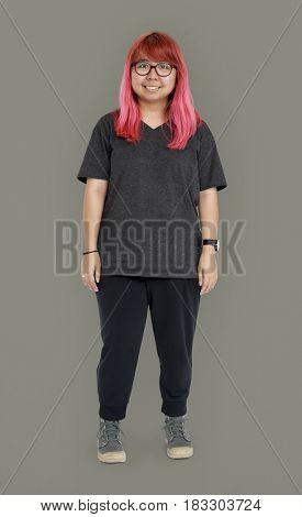 Pink Hair Woman Face Smile Expression Studio Portrait