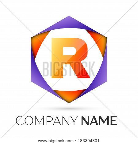 Letter R vector logo symbol in the colorful hexagonal on grey background. Vector template for your design