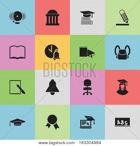 Set Of 16 Editable Education Icons. Includes Symbols Such As Schoolbag, Distance Learning, Bell And More. Can Be Used For Web, Mobile, UI And Infographic Design.