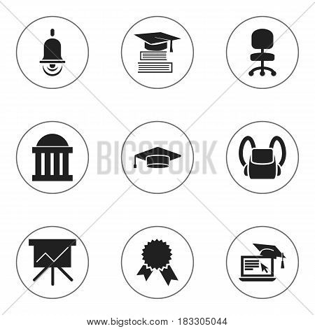 Set Of 9 Editable School Icons. Includes Symbols Such As Alarm Bell, Education, Chart Board And More. Can Be Used For Web, Mobile, UI And Infographic Design.