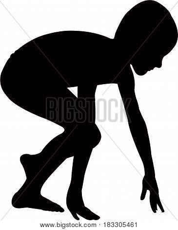 a boy body black color silhouette vector