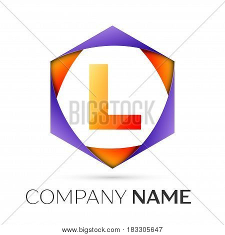 Letter L vector logo symbol in the colorful hexagonal on grey background. Vector template for your design