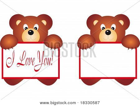 Bear holding Placard. Vector Illustration.