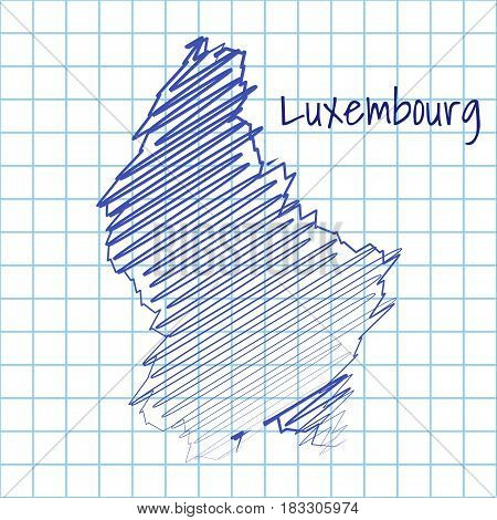 Map Of Luxembourg, Blue Sketch Abstract Background