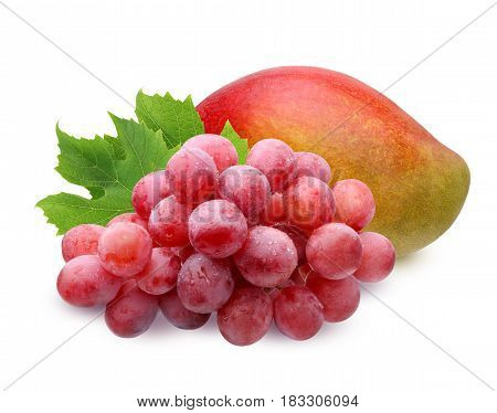 ripe mango and brush of red grapes with water drops with leaves isolated on white background. fruit berries food.