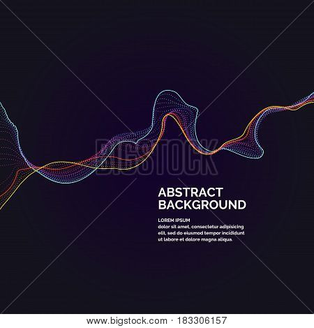 Vector abstract background with a colored dynamic waves line and particles. Illustration suitable for design
