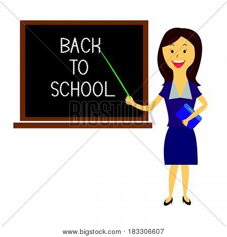 Teacher welcomes students back to school ..on white background isolated.