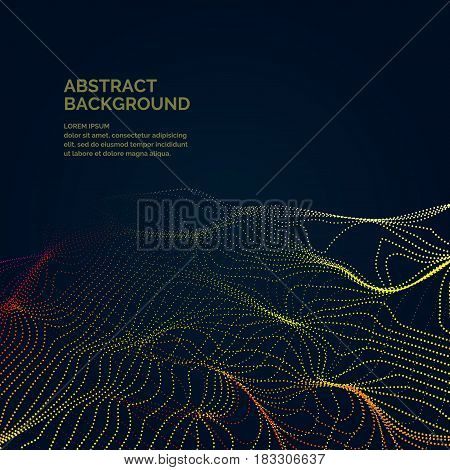 Modern vector abstract background with a colored dynamic grid line and particles. Illustration suitable for design