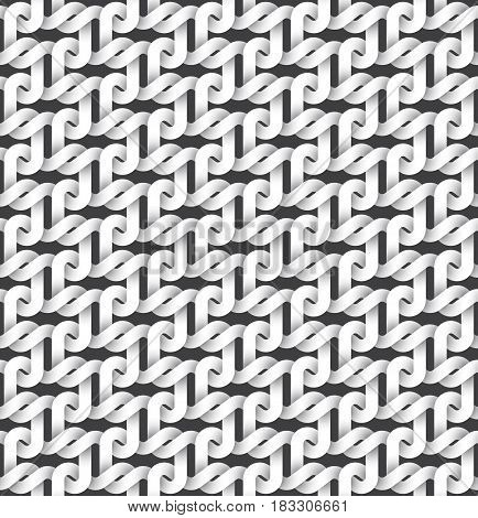 Abstract repeatable pattern background of white twisted strips. Swatch of intertwined links.