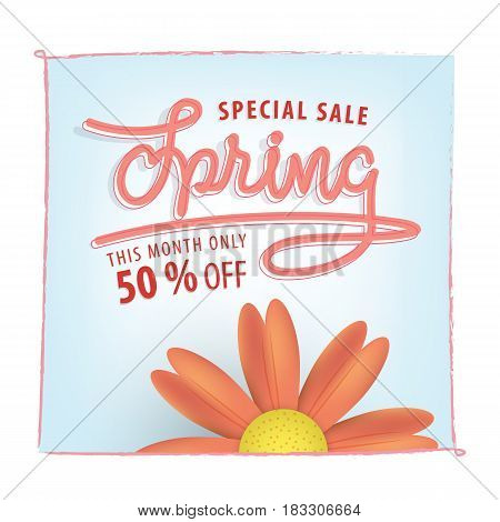 Spring Blue Pink 50 Percent Off Heading Design For Banner Or Poster. Sale And Discounts Concept. Vec