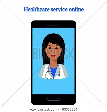 telemedicine flat illustration concept isolated on white background. Online medical consultation and support illustration of medical service.