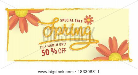 Spring Yellow And Orange Flower 50 Percent Off Heading Design And Yellow Frame For Banner Or Poster.