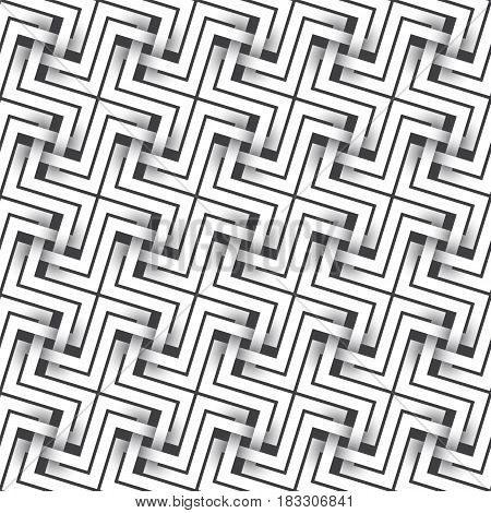 Abstract repeatable pattern background of white twisted strips. Swatch of intertwined crosses.