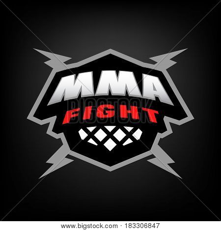Mixed martial arts logo on dark background.