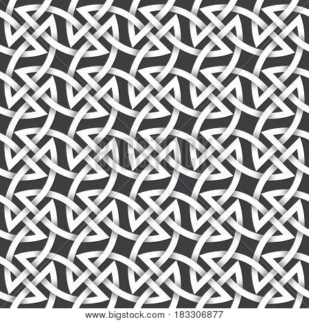 Abstract repeating background of white twisted strips. Swatch of intertwined braces and lines.