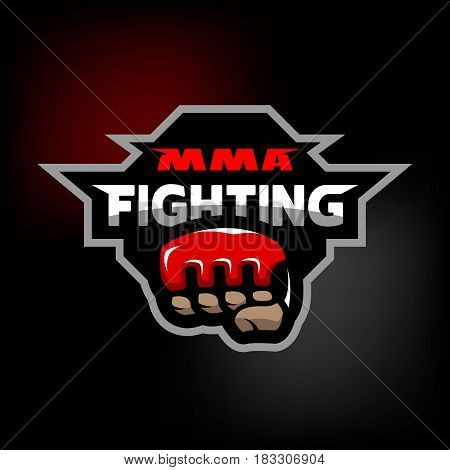MMA fighting. Mixed martial arts logo on dark background.