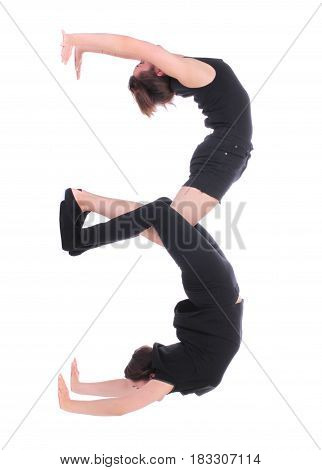 Black dressed people forming number three on white background