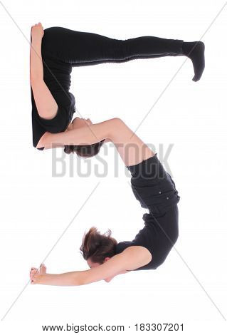 Black dressed people forming number five on white background